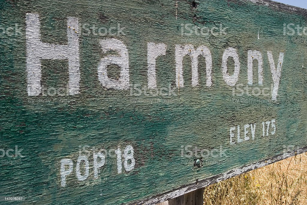Harmony Town Sign royalty-free stock photo