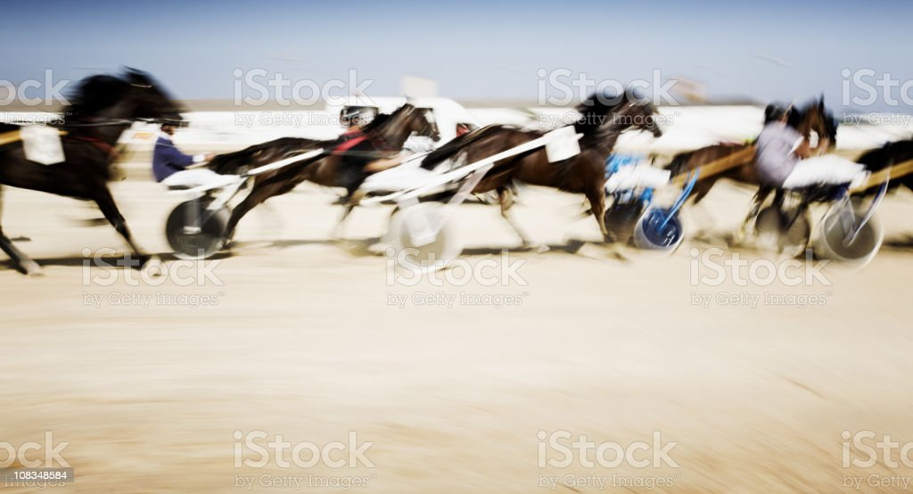 Harness racing in motion blur royalty-free stock photo