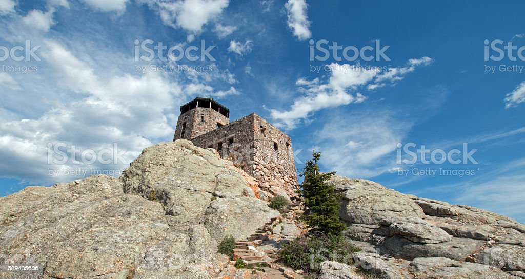 Harney Peak Fire Lookout Tower in Black Hills SD USA stock photo