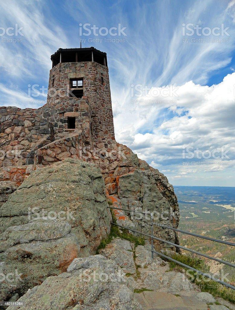 Harney Peak Fire Lookout Tower in Black Hills South Dakota stock photo