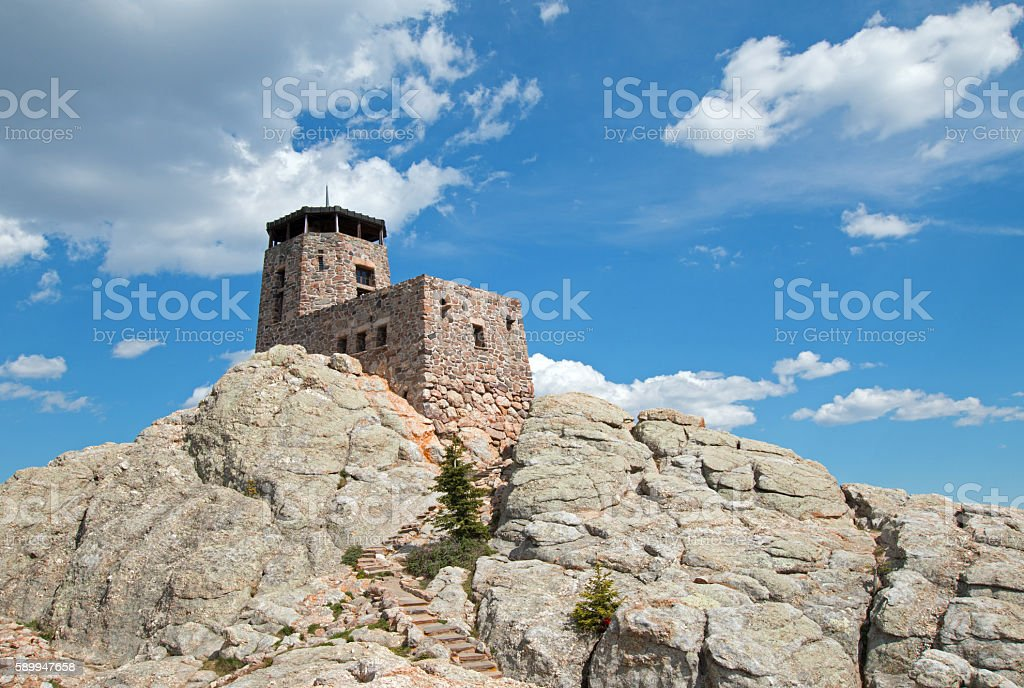 Harney Peak Fire Lookout Tower in Custer State Park stock photo
