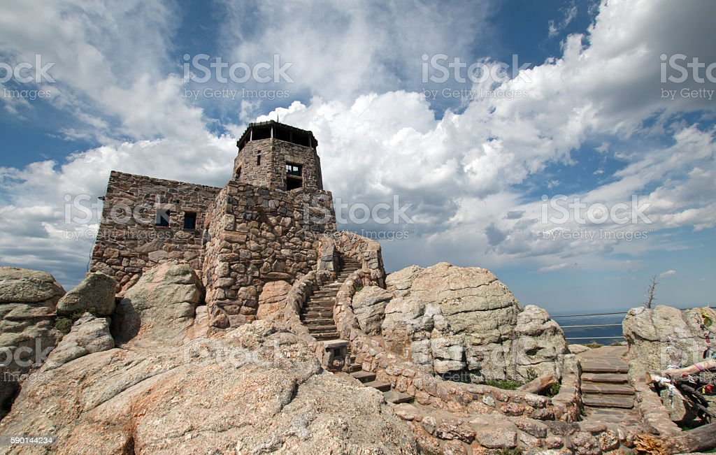 Harney Peak Fire Lookout Tower stone staircase in Black Hills stock photo