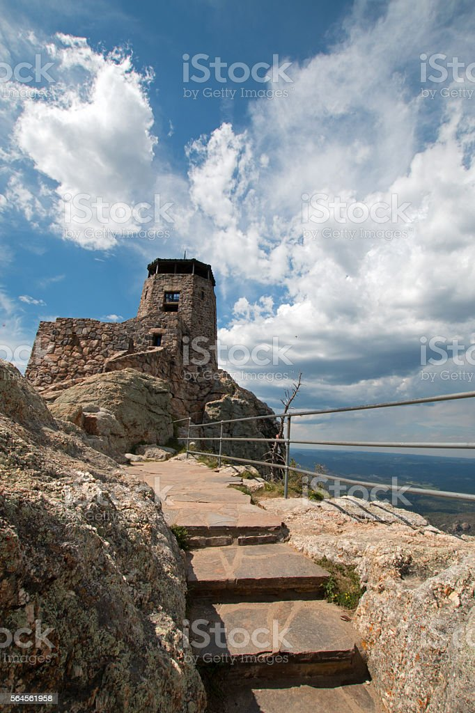 Harney Peak Fire Lookout Tower stone steps stock photo