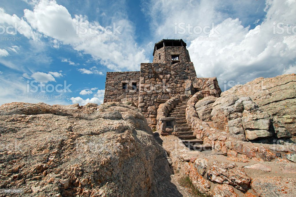 Harney Peak Fire Lookout Tower stone steps USA stock photo