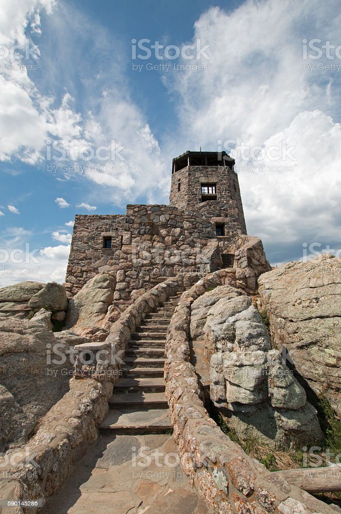 Harney Peak Fire Lookout Tower with cirrus cloudscape background stock photo