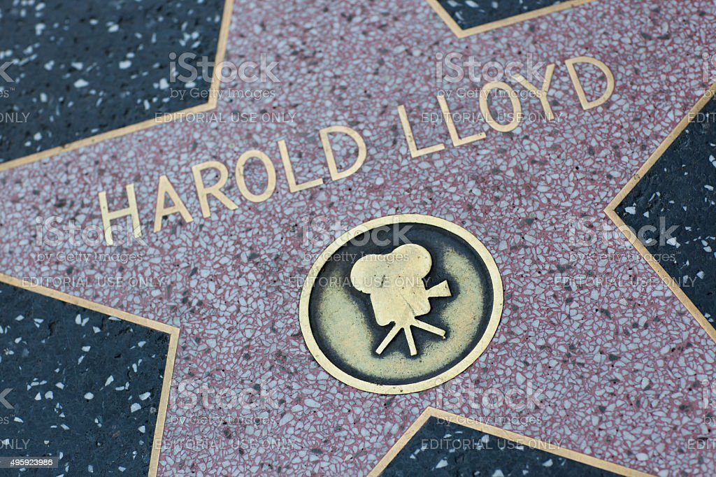 Harold Lloyd star on the Hollywood Walk of Fame stock photo