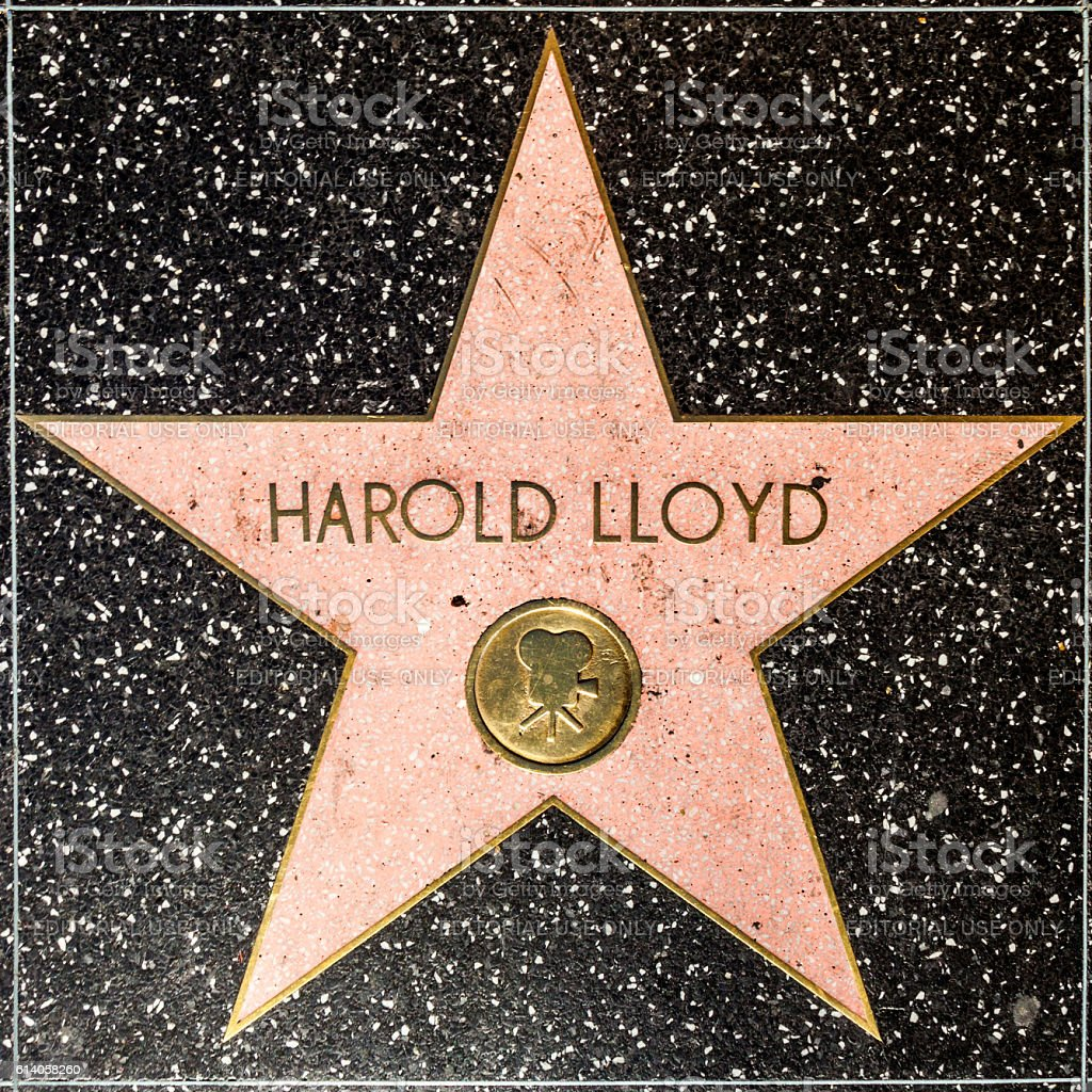 Harold Lloyds star on Hollywood Walk of Fame stock photo