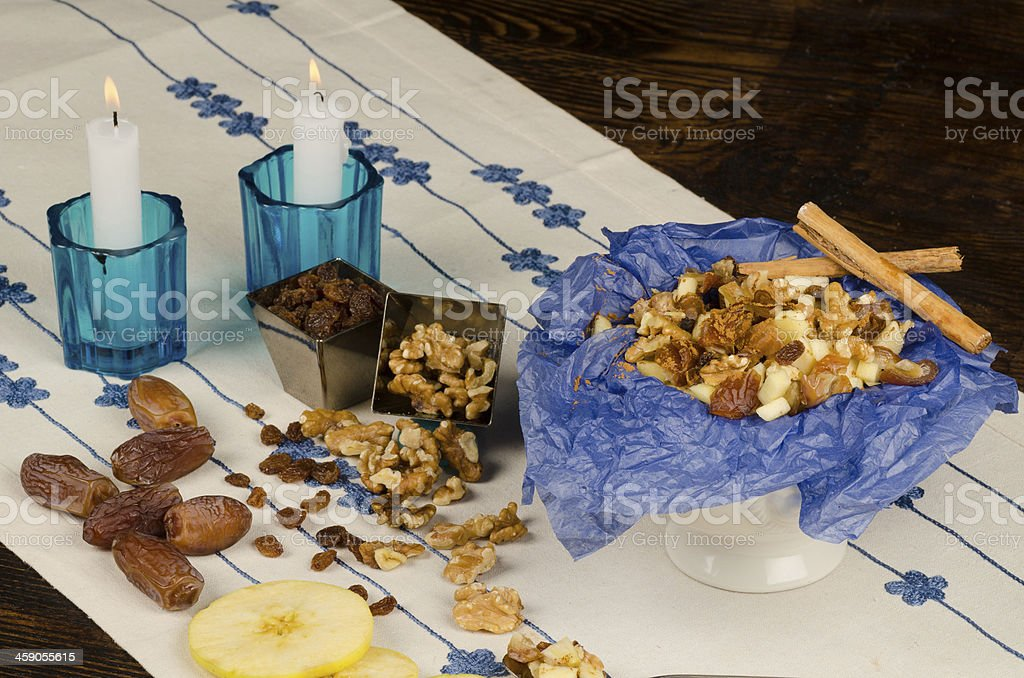 Haroset and ingredients royalty-free stock photo