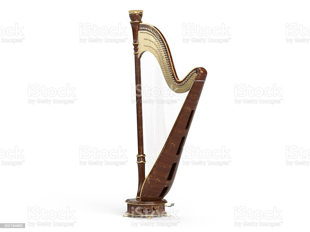 Harp aged isolated on white 3D rendering stock photo