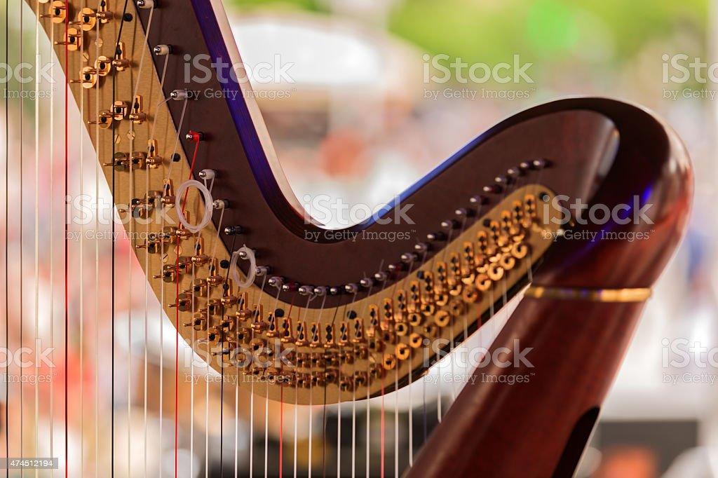 Harp details stock photo