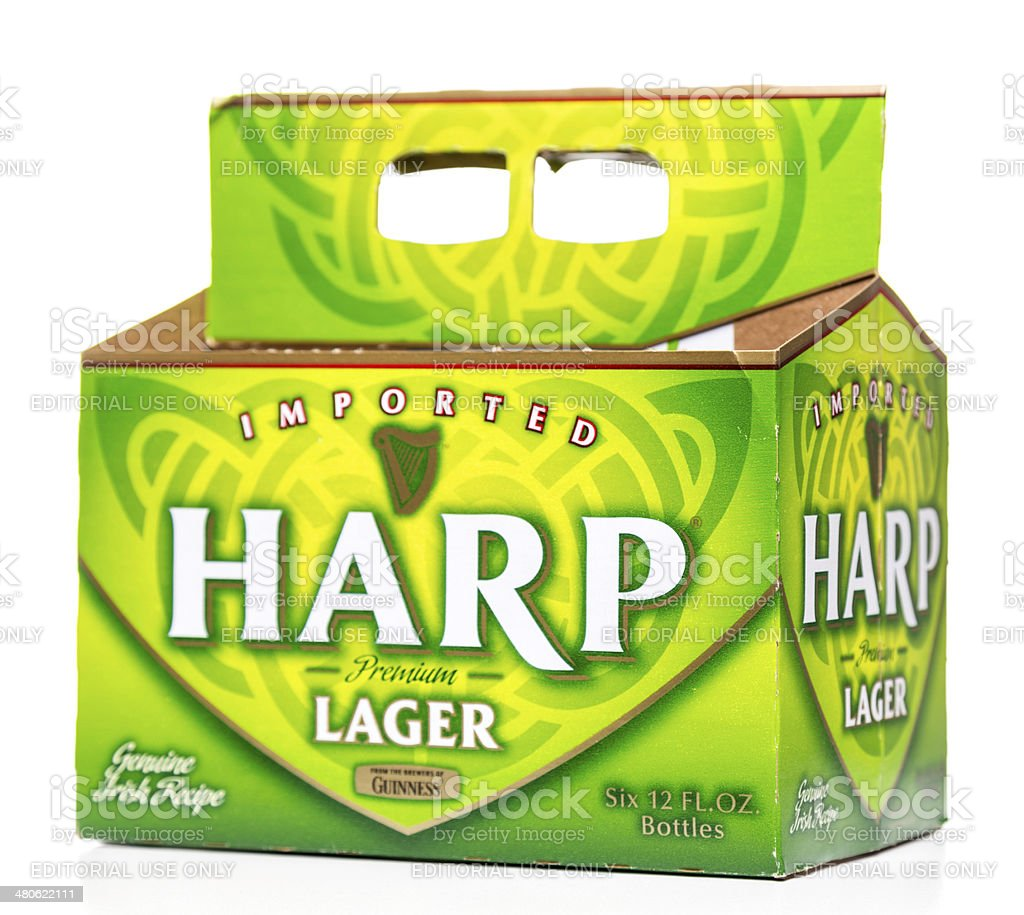 Harp imported beer six pack box stock photo