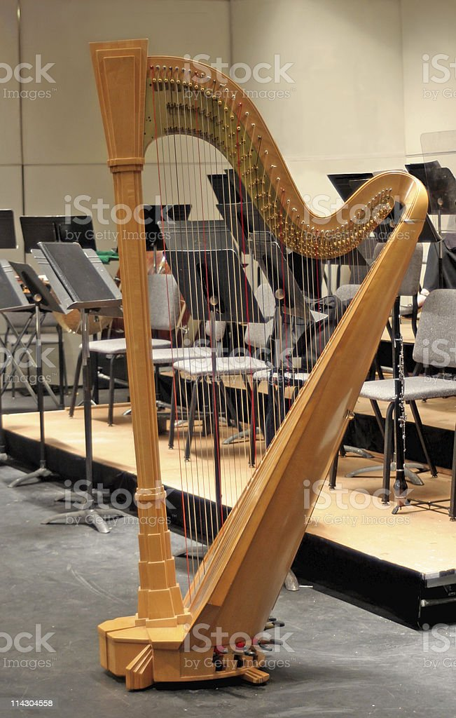 Harp on Stage at Intermission stock photo