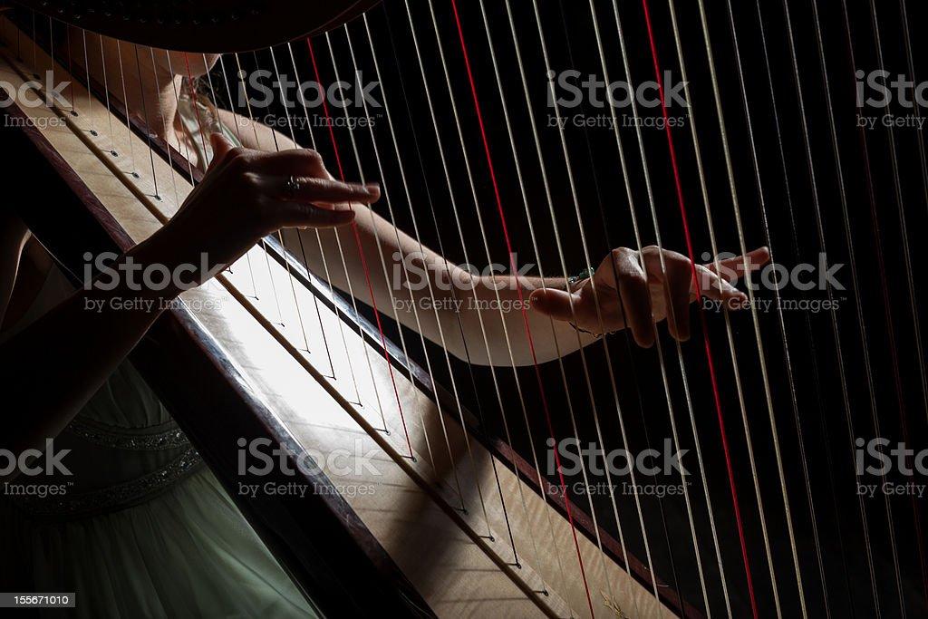Harp player stock photo