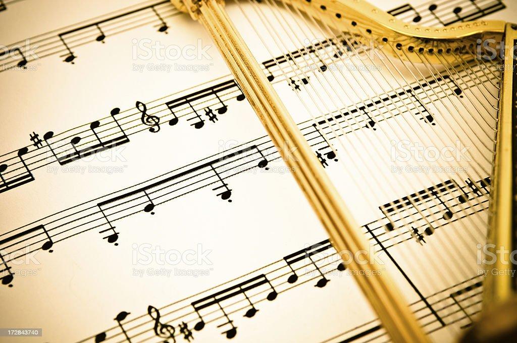 Harp & Sheet Music stock photo