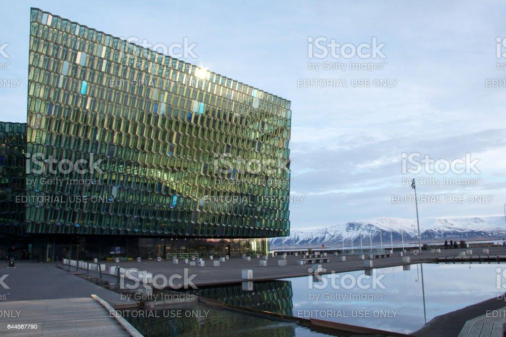 Harpa concert hall during winter, Reykjavik stock photo