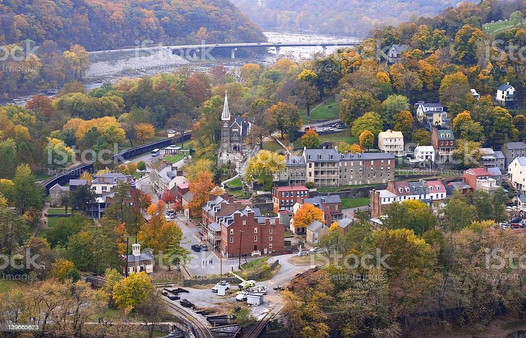 harpers ferry at autumn (view from mountain) stock photo