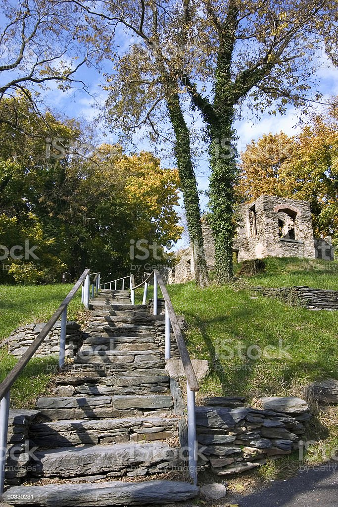 Harpers ferry ruins in autumn day stock photo