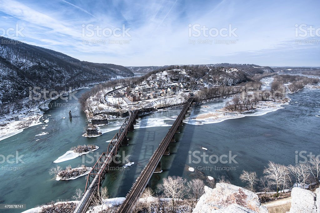 Harpers Ferry West Virginia in the winter stock photo