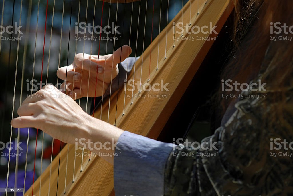 Harpist At Wedding Ceremony Close Up stock photo