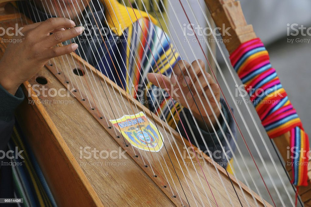 Harpist stock photo