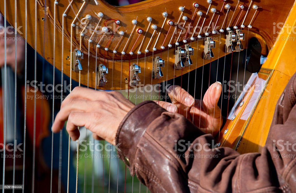 Harpist Playing in Sunshine, Outdoor Harp Concert stock photo