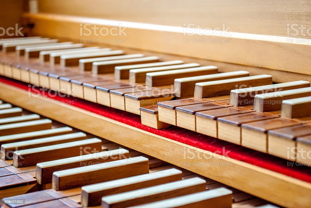 Harpsichord keyboard focus stock photo
