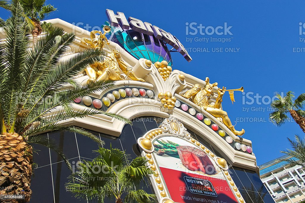Harrah's Hotel and Casino Sign  in Las Vegas stock photo