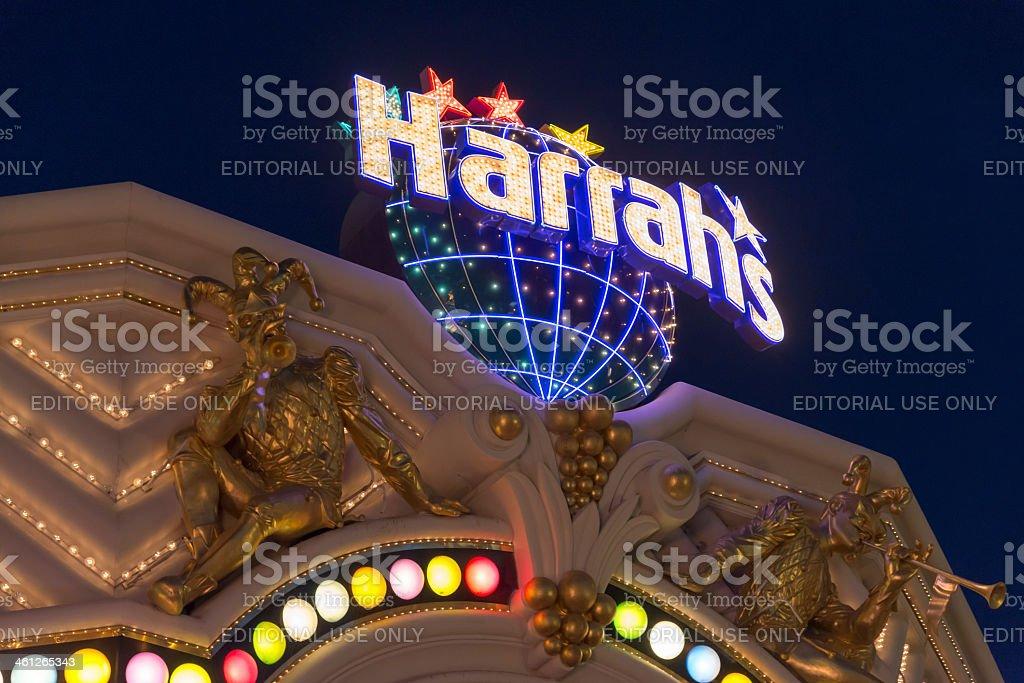 Harrahs Las Vegas Strip at night stock photo