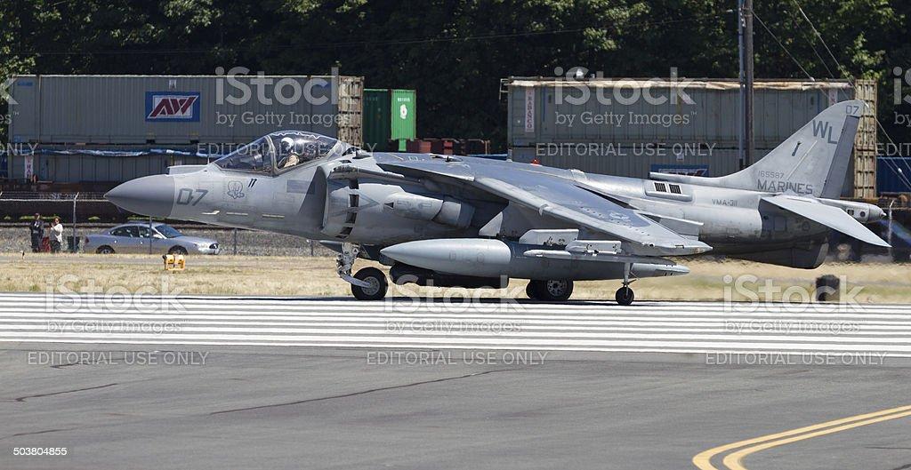 Harrier AV-8B Jet Ready for Takeoff stock photo