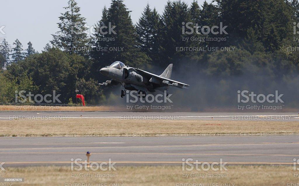 Harrier AV-8B Jet Takeoff stock photo