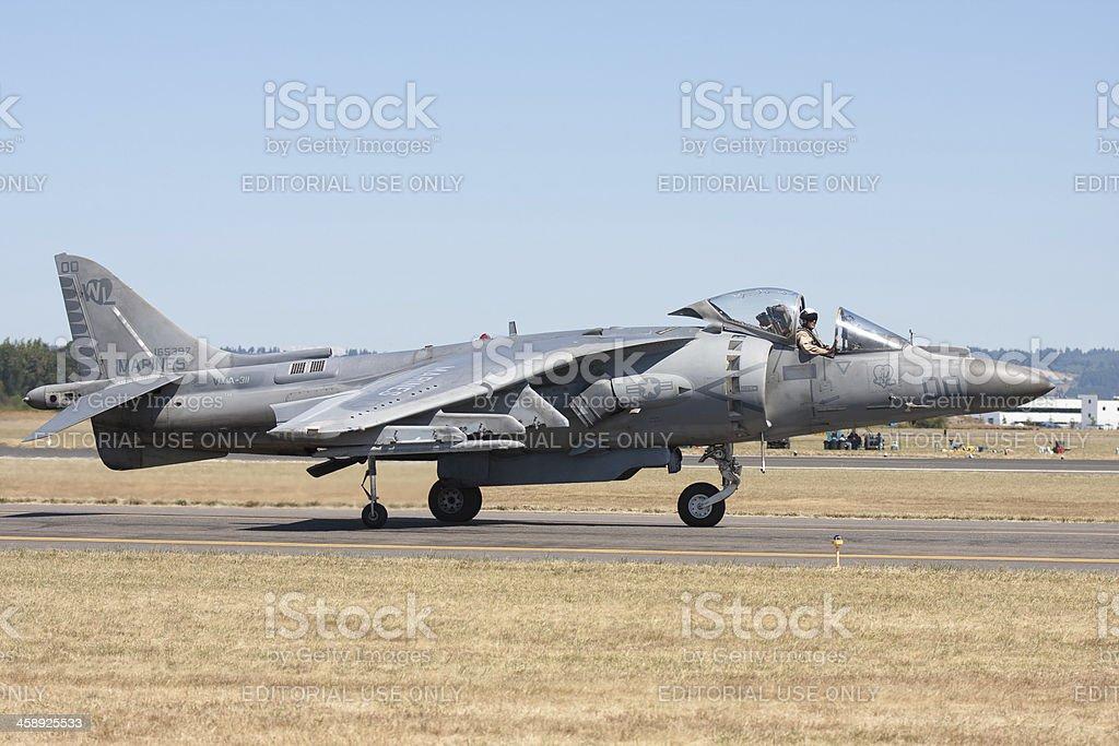 Harrier AV-8B Jet Taxiing In stock photo
