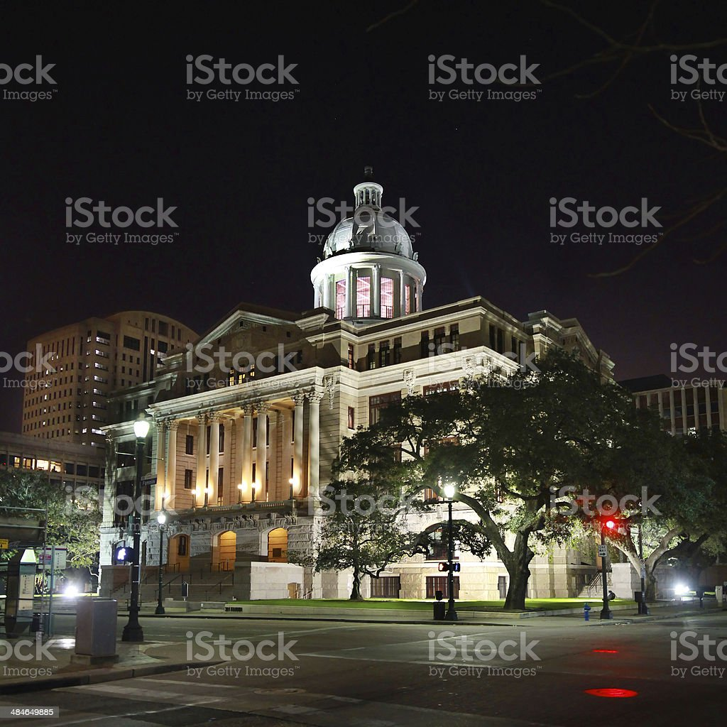 Harris County Courthouse in Houston,Texas at night stock photo