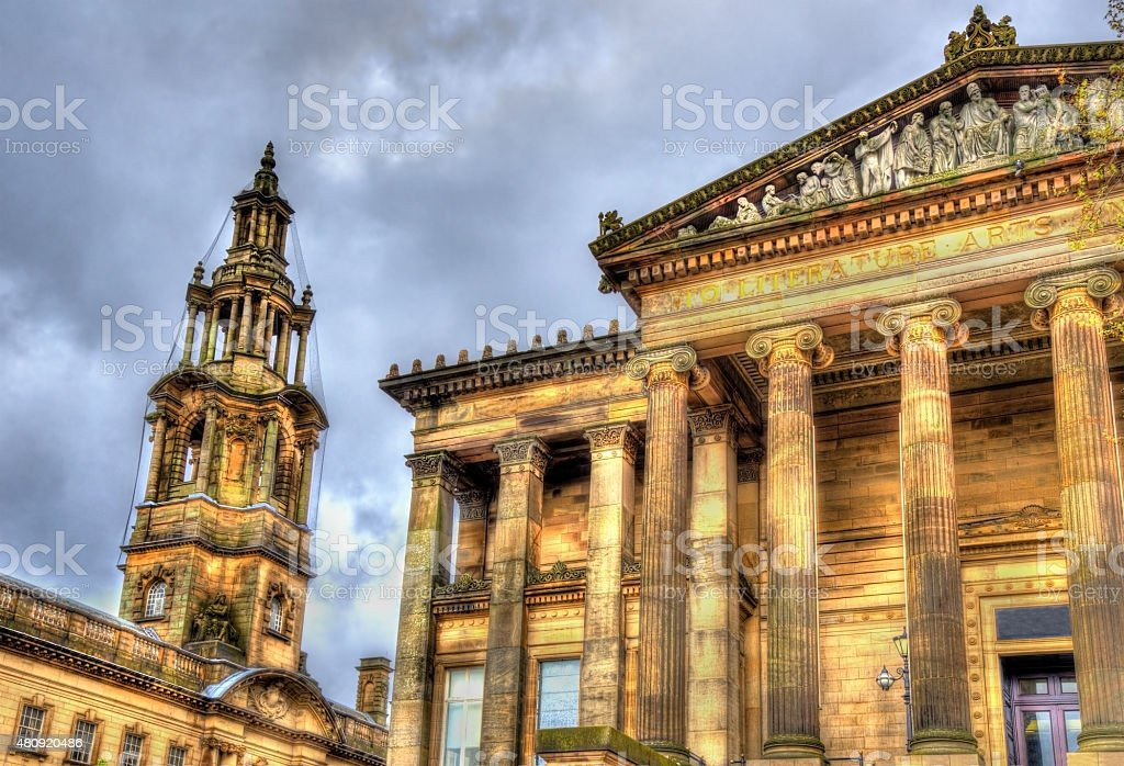 Harris Museum and The Sessions House in Preston - England stock photo