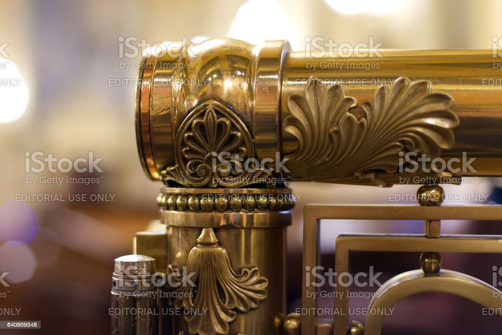 Harrisburg, PA, USA - December, 19, 2016; Detail of rail found in the House of Representatives at the State Capitol in Harrisburg, Pennsylvania. stock photo