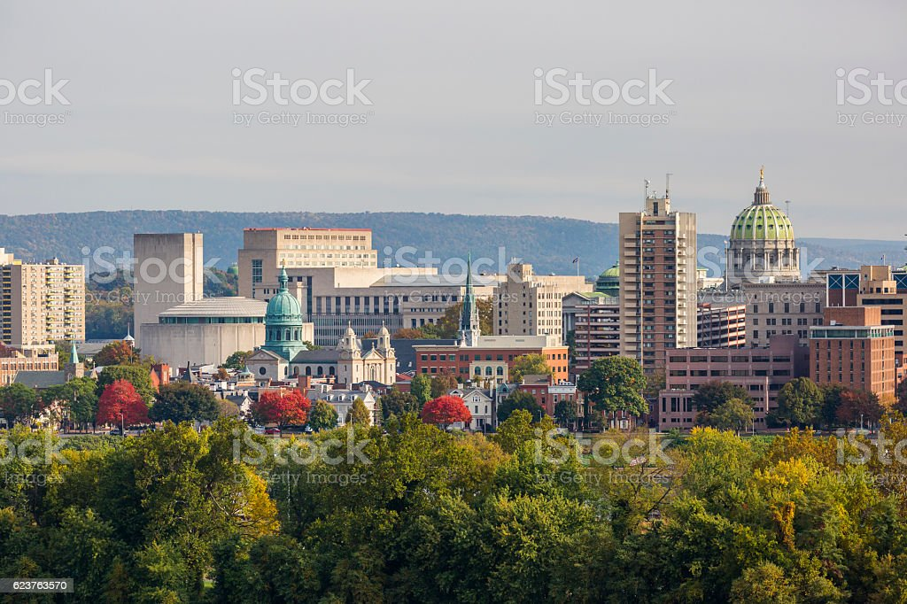 Harrisburg Pennsylvania  Downtown Skyline stock photo