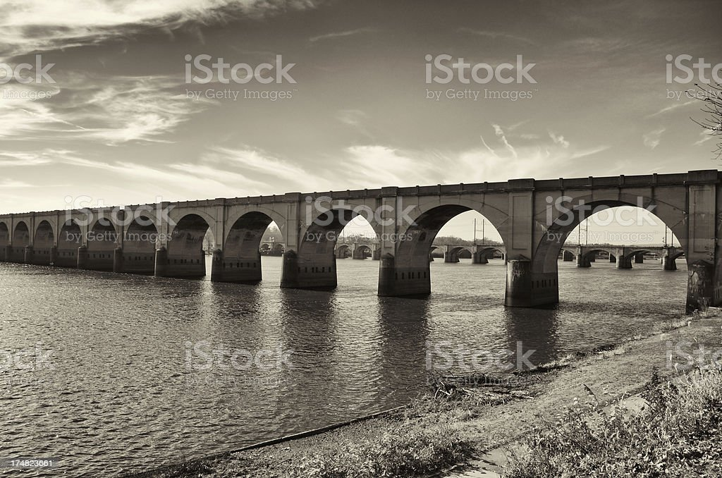 Harrisburg Pennsylvania USA , Bridges over the Susquehanna River, Waterfront Park royalty-free stock photo