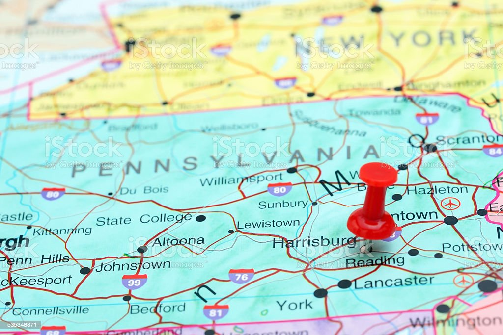 Harrisburg pinned on a map of USA stock photo