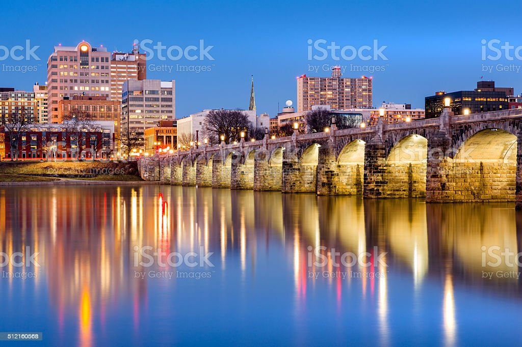 Harrisburg skyline with the historic Market Street Bridge stock photo