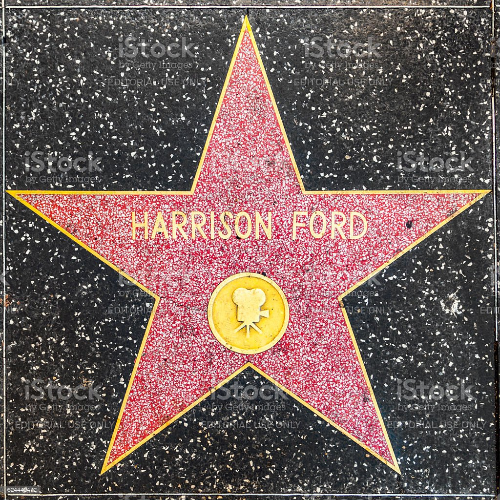 Harrison Ford's star on Hollywood Walk of Fame stock photo