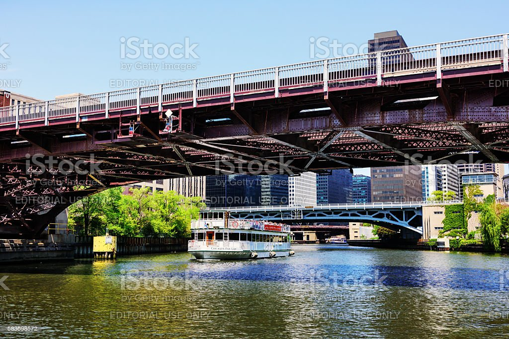 Harrison Street and Congress Parkway Bridges, Chicago River stock photo