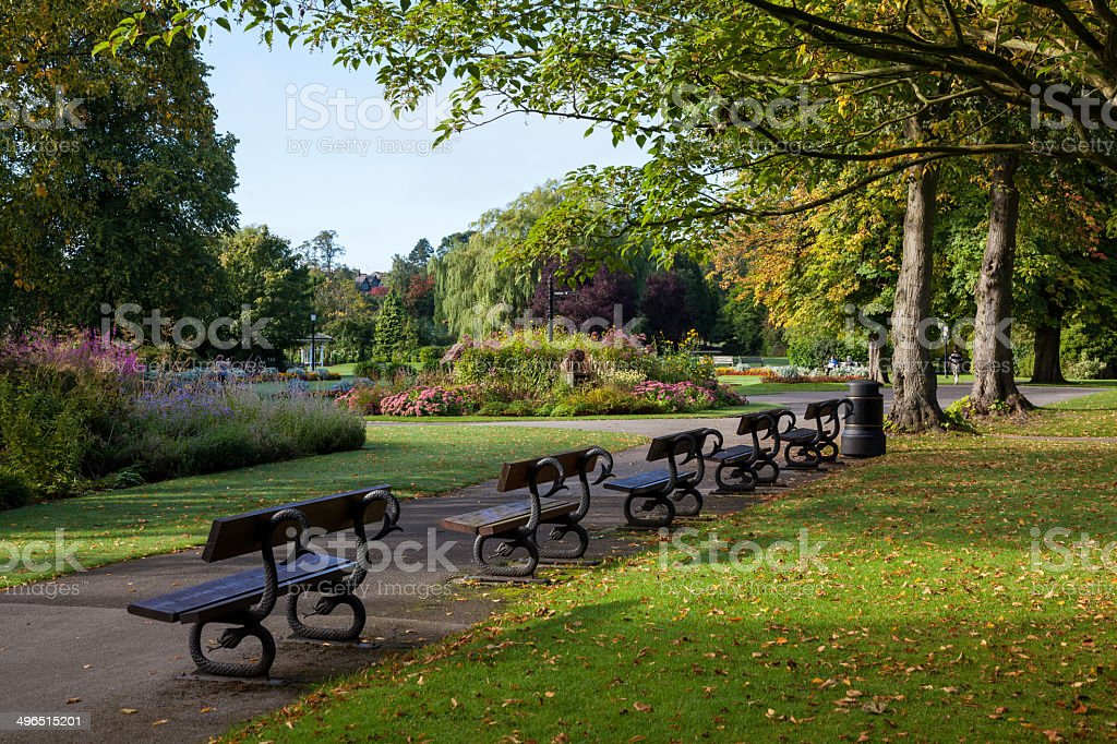 Harrogate Yorkshire England town park stock photo