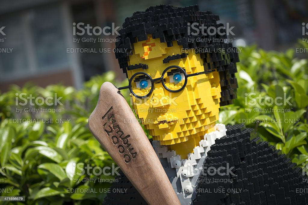 Harry Potter made of Lego bricks outside toy store royalty-free stock photo