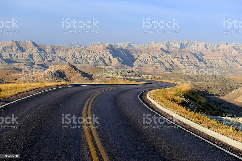 Harsh and remote Badlands landscape, South Dakota stock photo