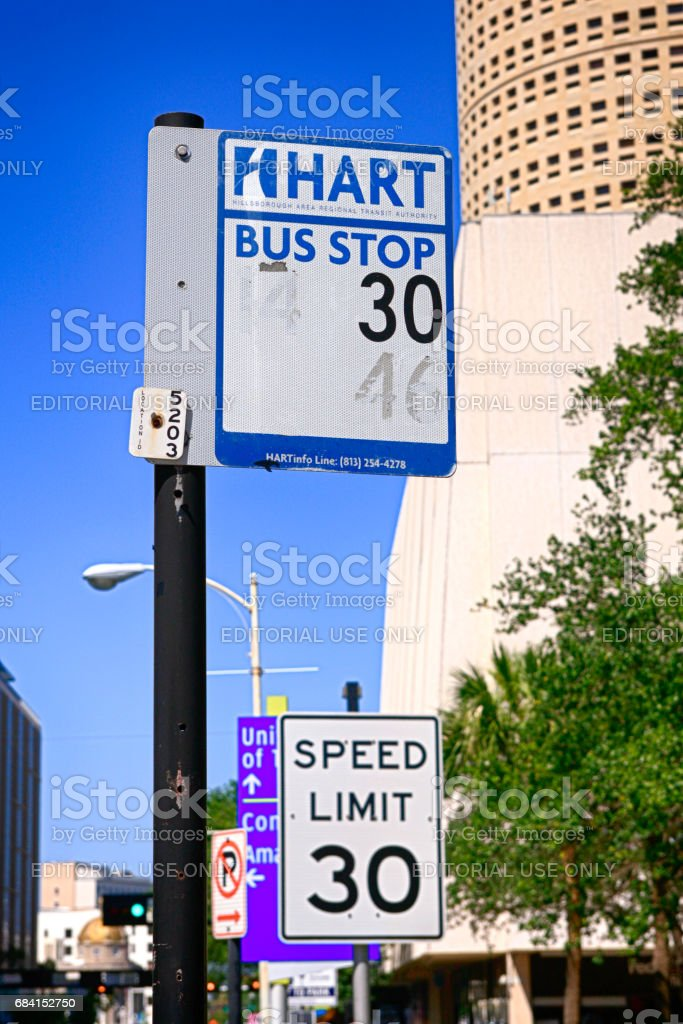 Hart - Hillsboro Area Regional Transit bus stop sign for Route 30 in downtown Tampa FL stock photo