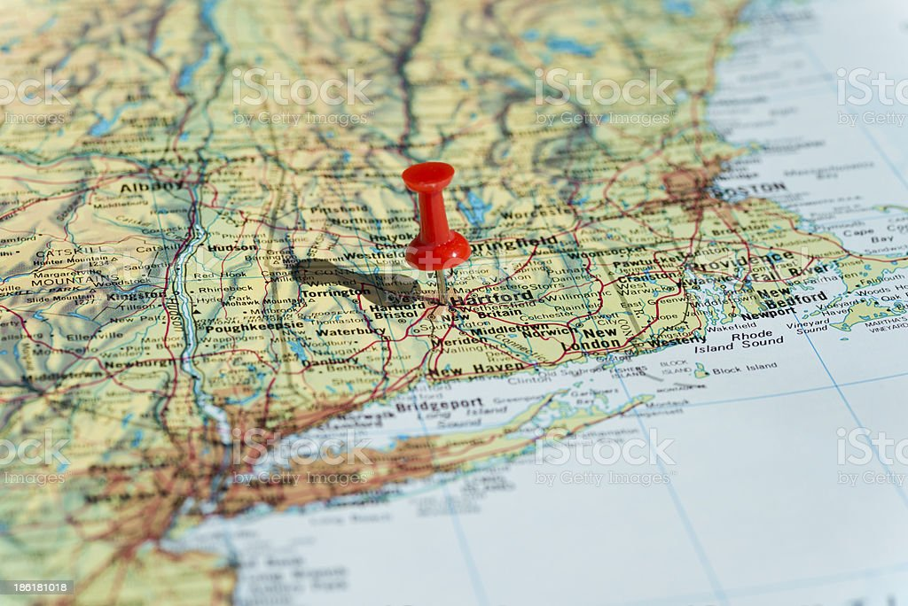 Hartford Marked on Map with Red Pushpin stock photo