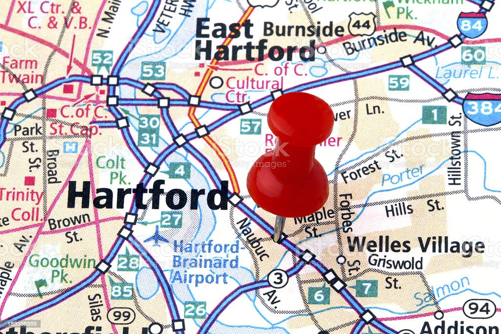 Hartford on a Map. stock photo