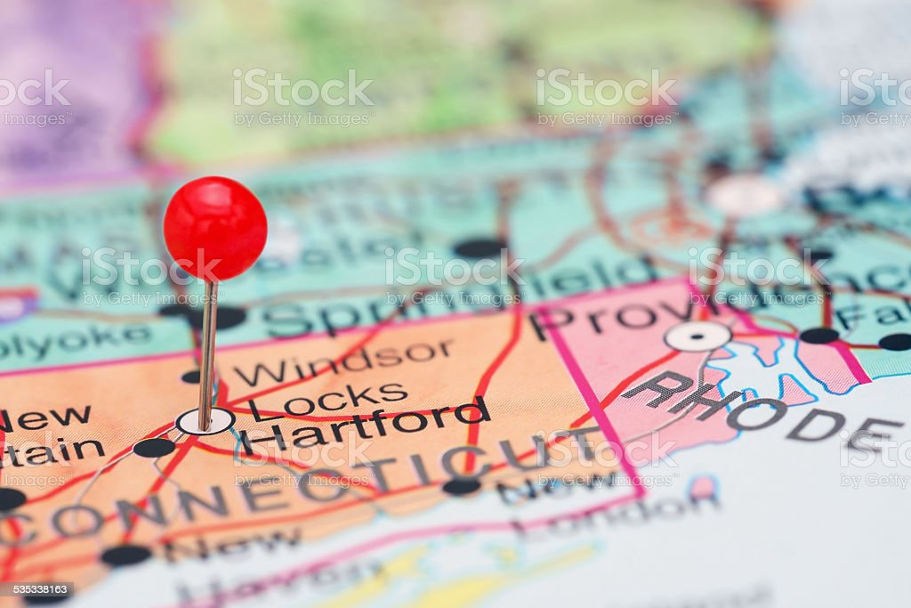 Hartford pinned on a map of USA stock photo
