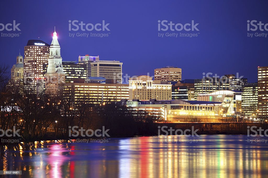 Hartford Skyline along the Connecticut River stock photo