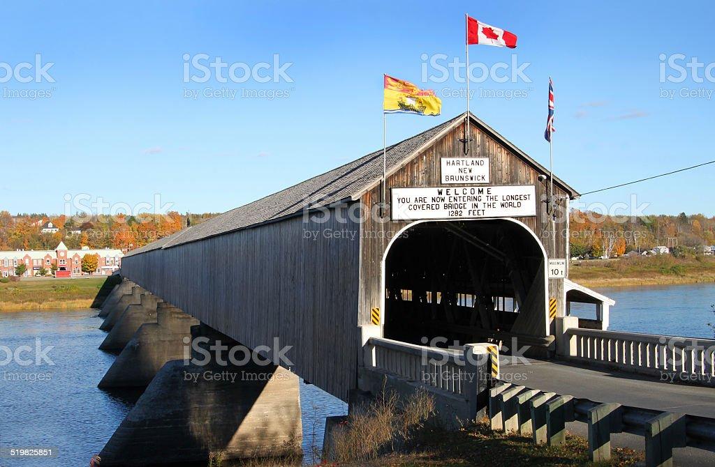 Hartland wooden covered bridge stock photo