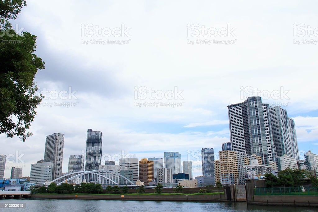 Harumi district views as seen from Hama stock photo
